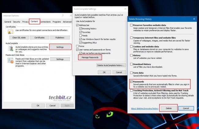 Smazání uložených hesel z IE
