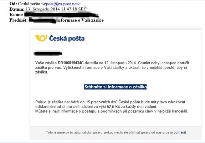 Podvodný email