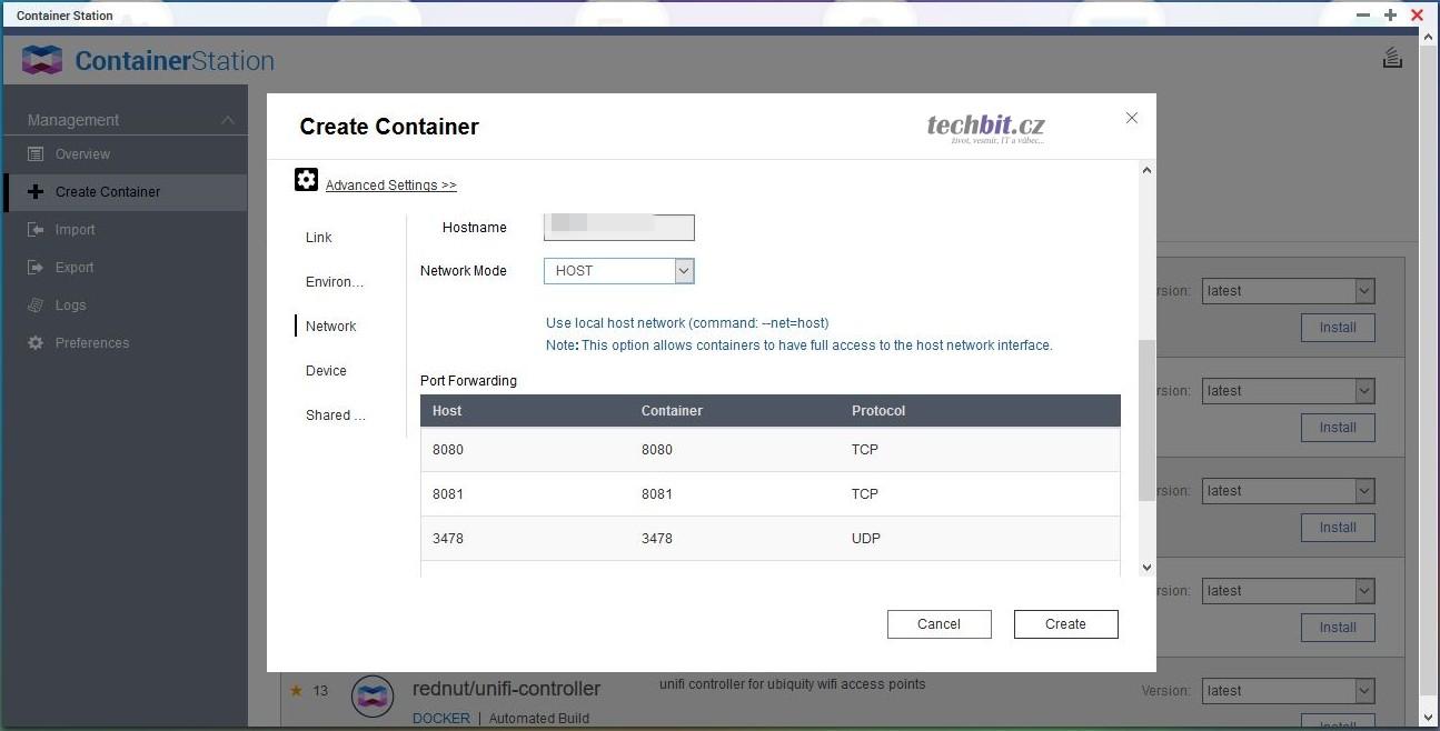 QNAP: Unifi Controller v Container Station (Docker)