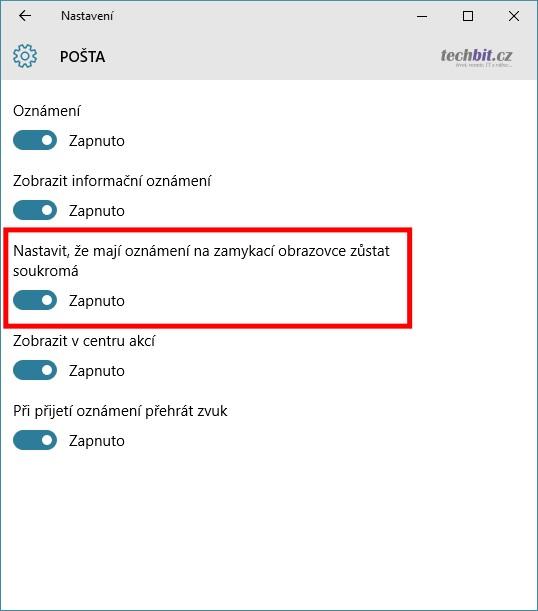 Windows 10 - oznámení na zamykací obrazovce