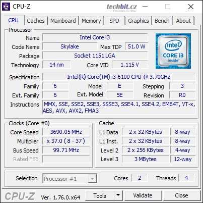 CPU-Z DELL OptiPlex 3040 SFF