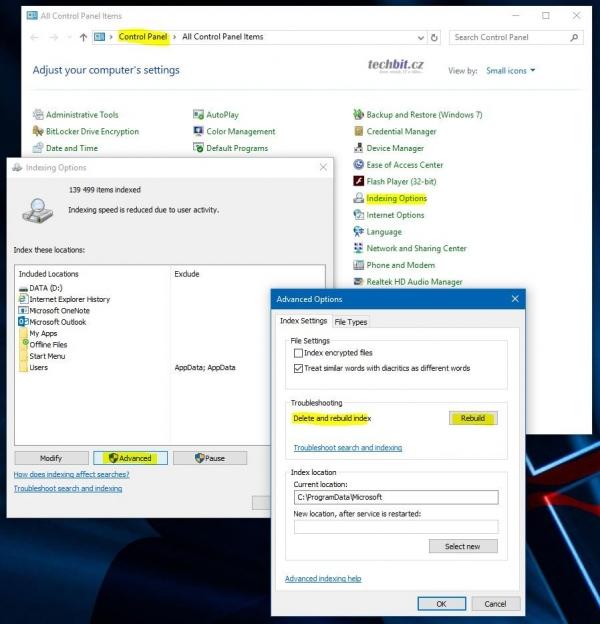 Windows indexace souborů