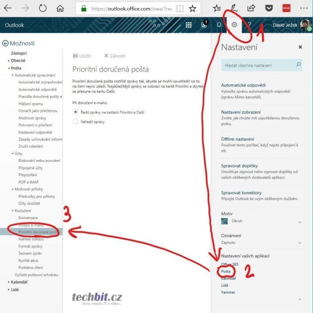 Webová aplikace Outlook